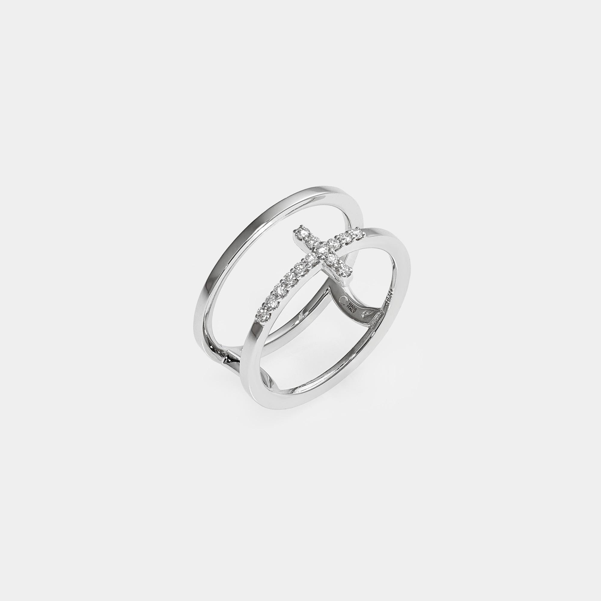 Anello Fedina Croce Oro Bianco Diamanti AN013