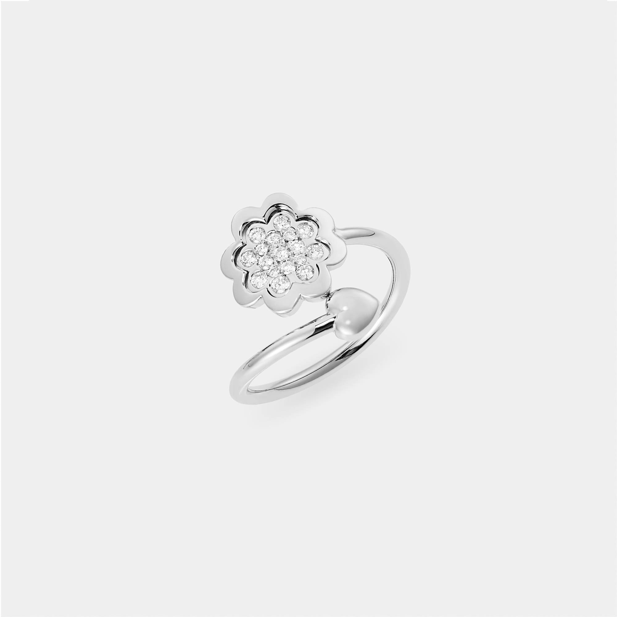 Anello Fiore Cuore oro bianco diamanti AN016