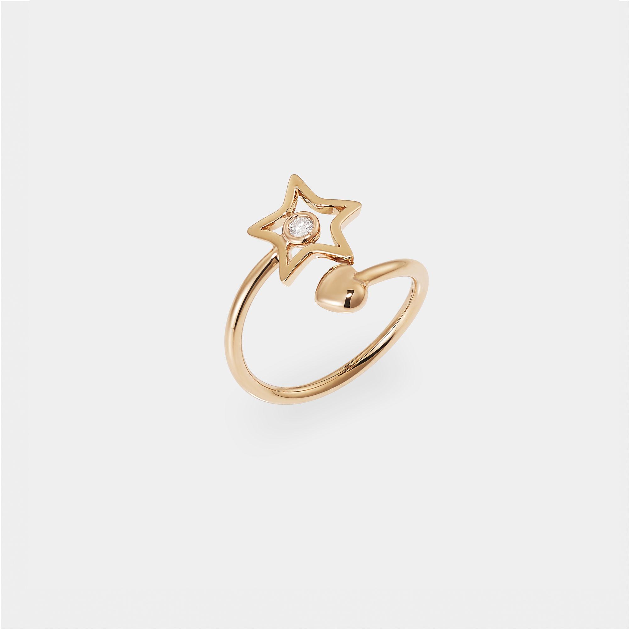 Anello stella cuore Oro rosa diamante AN017