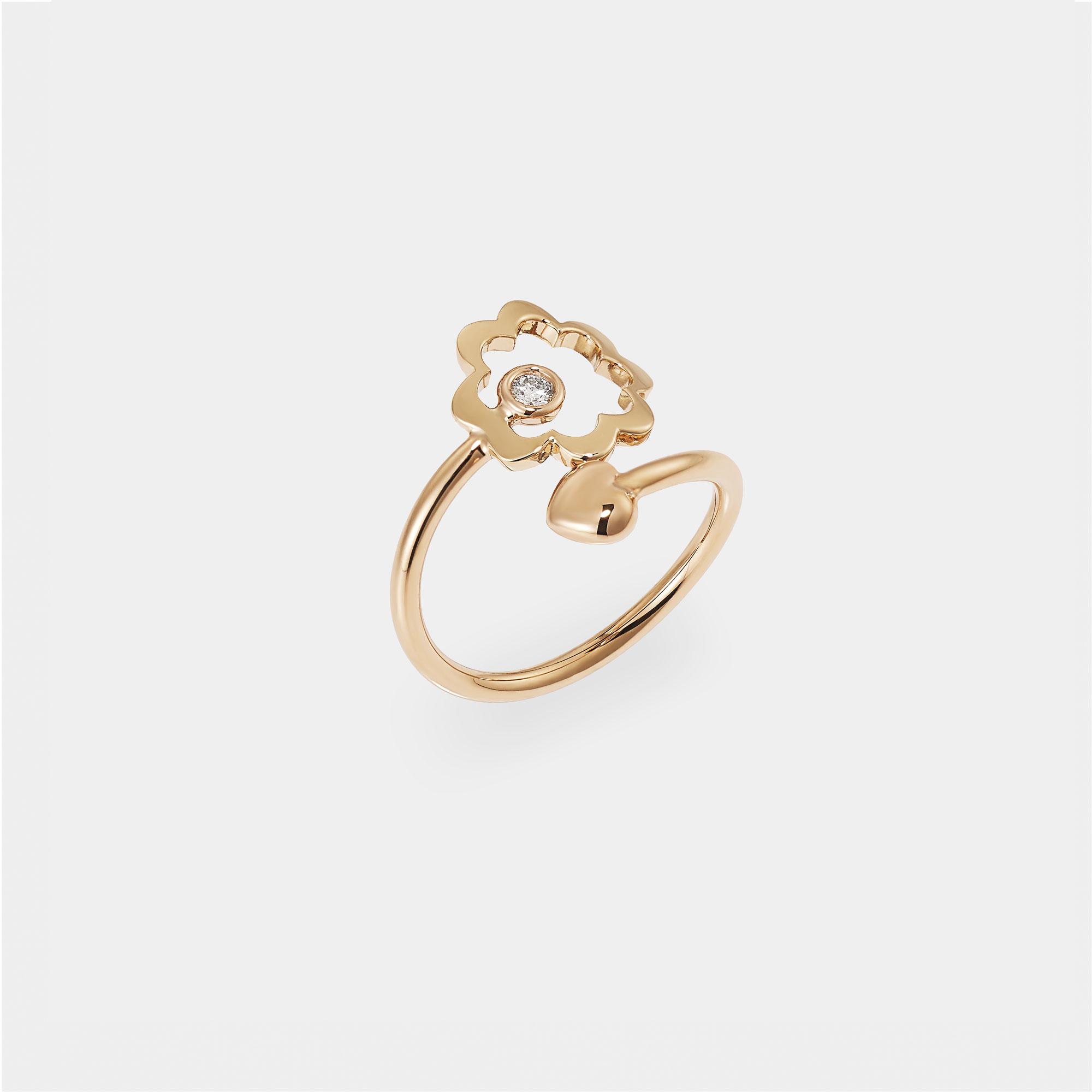 Anello Fiore Cuore Oro rosa Diamante - AN018