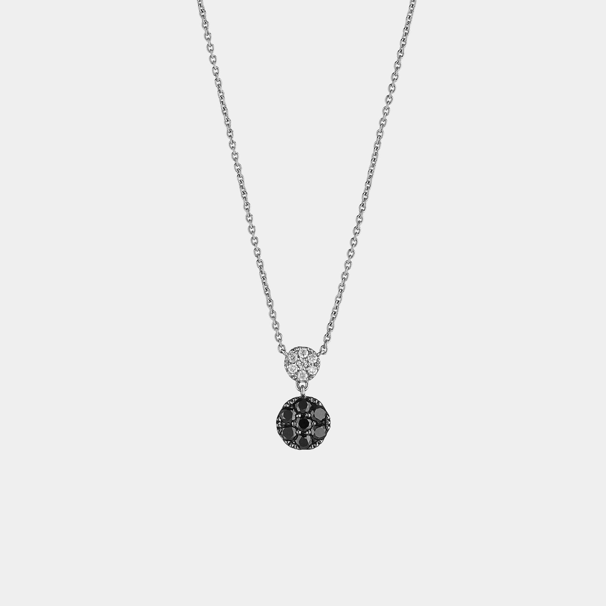 Collana Girocollo oro bianco diamanti neri CL019