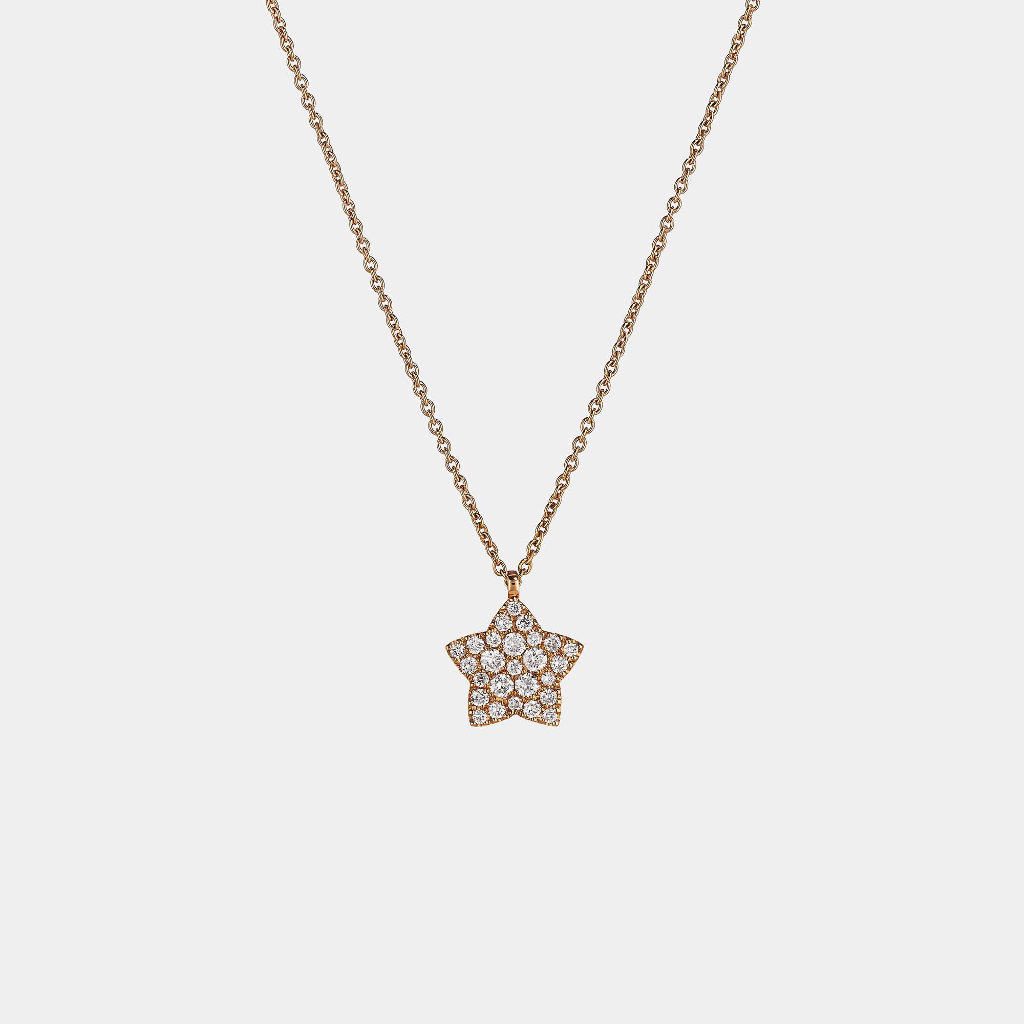 Girocollo collana Oro rosa stella diamanti CL020