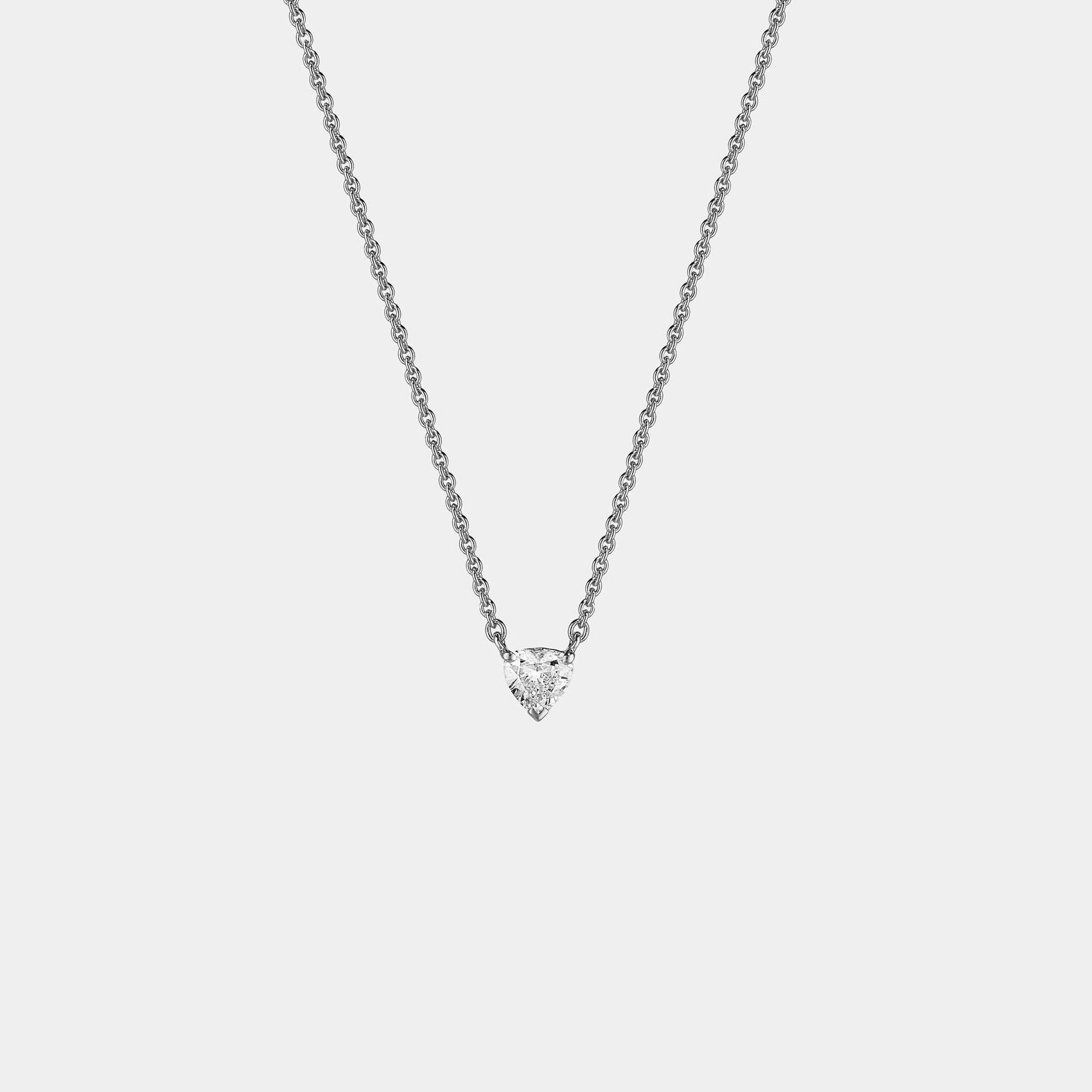 Girocollo collana punto luce oro bianco diamante cuore CL021